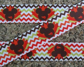 "3 yards Minnie mouse Turkey Ribbon Thanksgiving Ribbon Happy Turkey Printed Ribbon 7/8"" Hair Bow Ribbon crafts supplies"