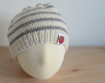 Hand knitted striped baby beanie hat