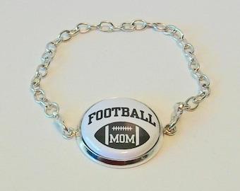 Fun Black and White Football Mom Silver Chain Fashion Bracelet