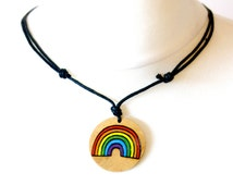LGBTQ Rainbow Necklace Pendant Hand Painted Gay Pride Equality Gift Choker
