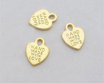 20pcs 15x12mm Gold Made with Love Tags Charm Pendant