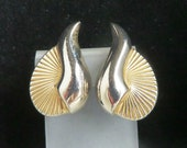 Kramer Earrings,  Vintage Two Toned Fan Clip-on Earrings