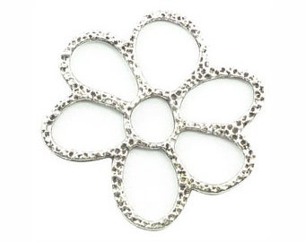 8 Open Hammered Silver Flower Charm Large 42x40mm by TIJC SP0830