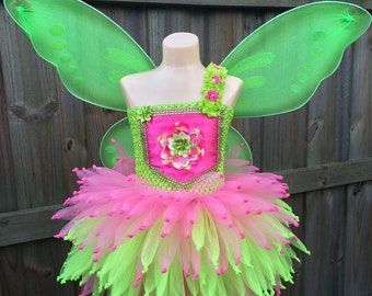 Tinkerbell costume, Tinkerbell dress, fairy tutu dress, Fairy tutu, fairy costume, tinkerbell tutu, green fairy costume, pink fairy