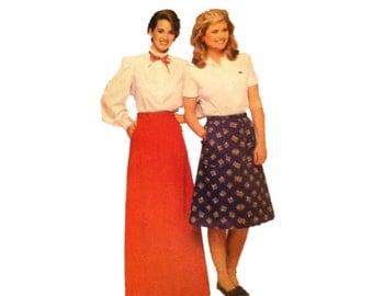 See & Sew 5290, Maxi Skirt, Midi Skirt, Size 8 10 12, Pockets, 1980s Vintage Fashion Sewing Pattern