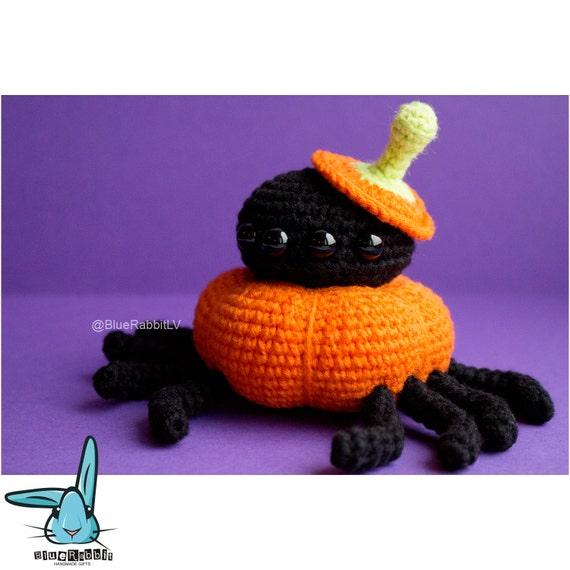 Pumpkin Spider amigurumi crochet pattern. PDF file. Halloween