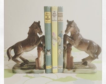 Sale* Kitsch Horse Bookends circa 1950's/60's