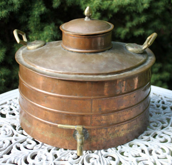Large antique copper and brass water dispenser container with for Copper water tank