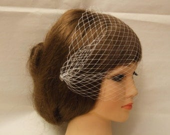 Birdcage veil with side comb.Bandeaue style veil,  Blusher veil, French net Russian Net Veil.Wedding, Bridal birdcage pearls Crystals