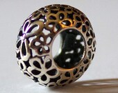925 Sterling Silver Oxidized Filigree Flower Bead Charm - BD1692