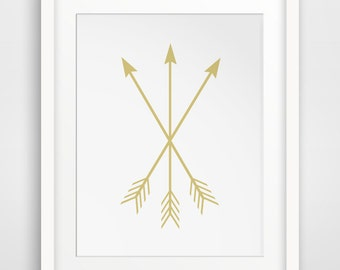 Gold Arrows, Arrow Print, Wall Art, Printable Wall Art, Gold Arrow, Gold Arrow Print, Gold Art, Printable Download, Golden Art, Arrows