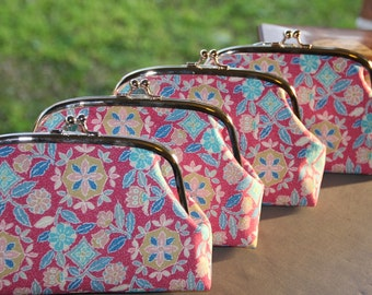 Set of Four/ Floral Clutch/  Bridalmade gift /Cross body / Vintage Kimono bag /Pouch/ hand made