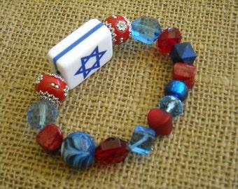 Red and Blue Mahjong Bracelet  - Star of David Mahjong  - Jesse James Beaded Bracelet