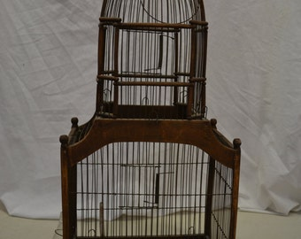 Vintage Bird Cage with glass water bottle