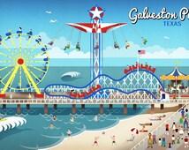 Galveston, Texas - Retro Pier (Art Prints available in multiple sizes)