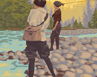 Women Fly Fishing - Montana (Art Prints available in multiple sizes)