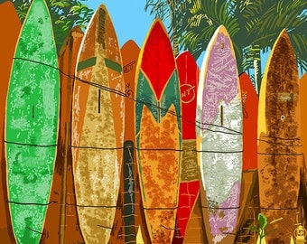 Maui, Hawaii - Surfboard Fence (Art Prints available in multiple sizes)