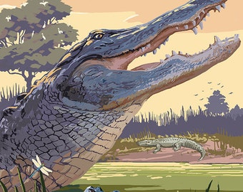 Alligator and Baby (Art Prints available in multiple sizes)