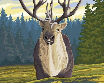 Caribou and Forest (Art Prints available in multiple sizes)