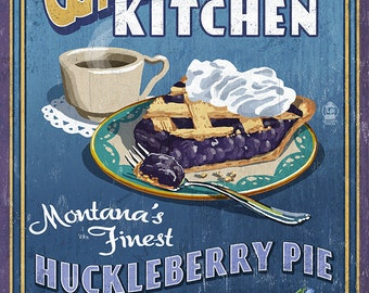 Whitefish, Montana - Huckleberry Vintage Sign (Art Prints available in multiple sizes)