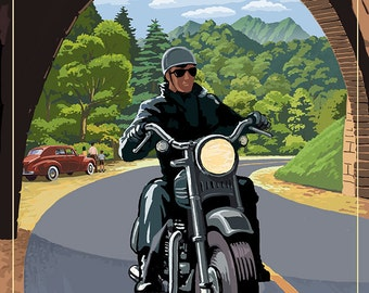 Motorcycle and Tunnel - Blue Ridge Parkway (Art Prints available in multiple sizes)