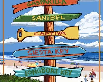 Boca Grande, Florida - Sign Destinations (Art Prints available in multiple sizes)