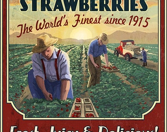 Strawberry Farm - Vintage Sign (Art Prints available in multiple sizes)