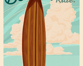Santa Monica, California - Life is a Beautiful Ride - Surfboard - Letterpress (Art Prints available in multiple sizes)