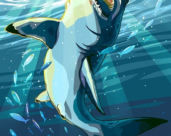 Stylized Great White Shark (Art Prints available in multiple sizes)