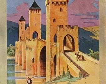 Cahors, France - View of the Valentr? Bridge; Paris and Orl?ans Railway Postcard (Art Prints available in multiple sizes)