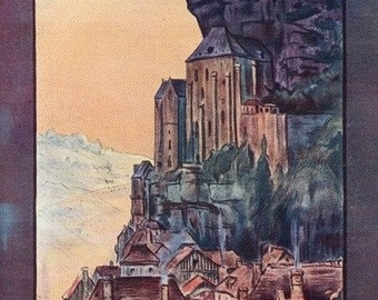 Rocamadour, France - Vintage Travel Postcard (Art Prints available in multiple sizes)