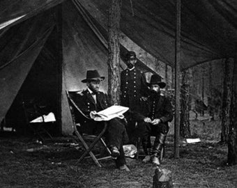 Gen. U.S. Grant in Camp Civil War Photograph (Art Prints available in multiple sizes)