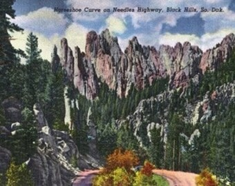 Black Hills, South Dakota - Needles Highway View of Horseshoe Curve (Art Prints available in multiple sizes)