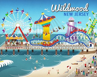 Wildwood, New Jersey - Retro Beach Boardwalk (Art Prints available in multiple sizes)