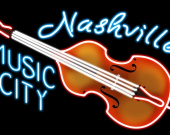 Nashville, Tennesse - Neon Cello Sign (Art Prints available in multiple sizes)