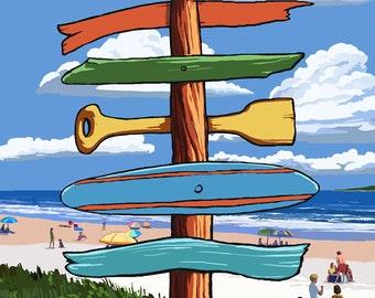 Destination Signpost (Sandy Coast Scene) (Art Prints available in multiple sizes)