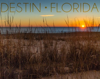 Destin, Florida - Beach and Sunrise (Art Prints available in multiple sizes)