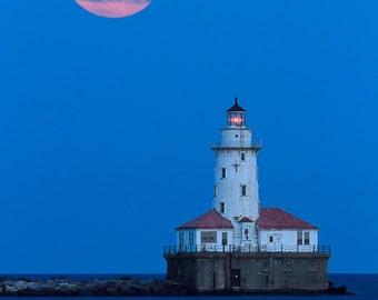 Chicago, Illinois - Lighthouse and Moon (Art Prints available in multiple sizes)