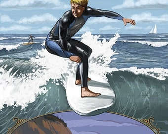 Huntington Beach, California - Day Surfer with Inset (Art Prints available in multiple sizes)