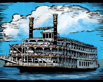 Paddlewheeler - Scratchboard (Art Prints available in multiple sizes)
