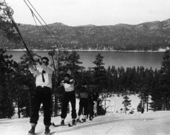 Big Bear Lake, California - Skiers Reaching the Top of the Lift (Art Prints available in multiple sizes)