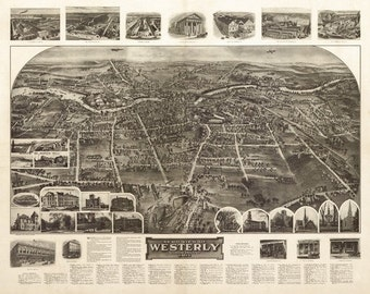 Westerly, Rhode Island - Panoramic Map (Art Prints available in multiple sizes)