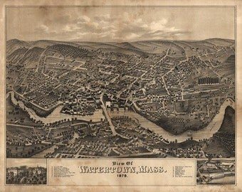 Watertown, Massachusetts - Panoramic Map (Art Prints available in multiple sizes)