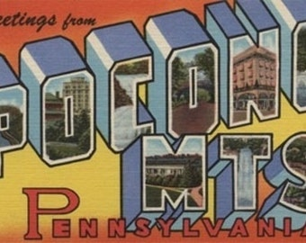 Pennsylvania - Pocono Mountains - Large Letter Scenes (Art Prints available in multiple sizes)