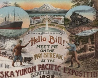 Seattle, WA - AD for Alaska Yukon Pacific Expo. (Art Prints available in multiple sizes)
