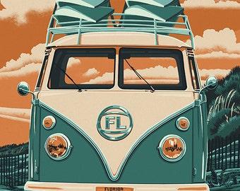 Siesta Key, Florida - VW Van - Letterpress (Art Prints available in multiple sizes)
