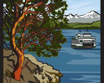 Lopez Island, Washington - Ferry Scene (Art Prints available in multiple sizes)