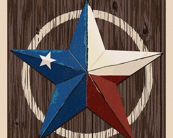 Grapevine,Texas - Barn Star - Letterpress (Art Prints available in multiple sizes)