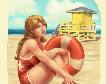 Siesta Key, Florida - Lifeguard Pinup with Life Preserver (Art Prints available in multiple sizes)