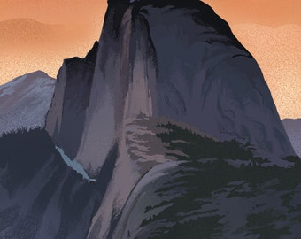 Half Dome - Yosemite National Park, California Lithography (Art Prints available in multiple sizes)